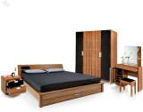 Royal Oak Engineered Wood Bed + Side Tab...