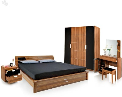 Royal Oak Engineered Wood Bed + Side Table + Wardrobe + Dressing Table(Finish Color - Brown)