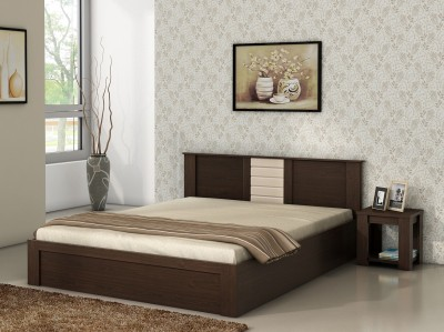 Spacewood Engineered Wood Bed + Side Table(Finish Color - Vermount)