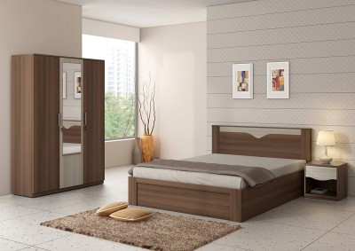 Spacewood Engineered Wood Bed + Side Table + Wardrobe