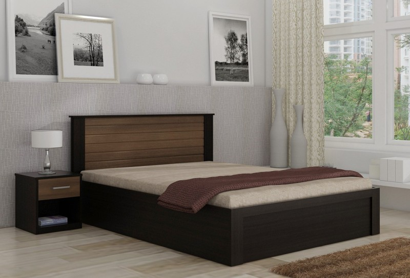 Spacewood Engineered Wood Bed + Side Table(Finish Color - NATURAL WENGE WOODPORE)