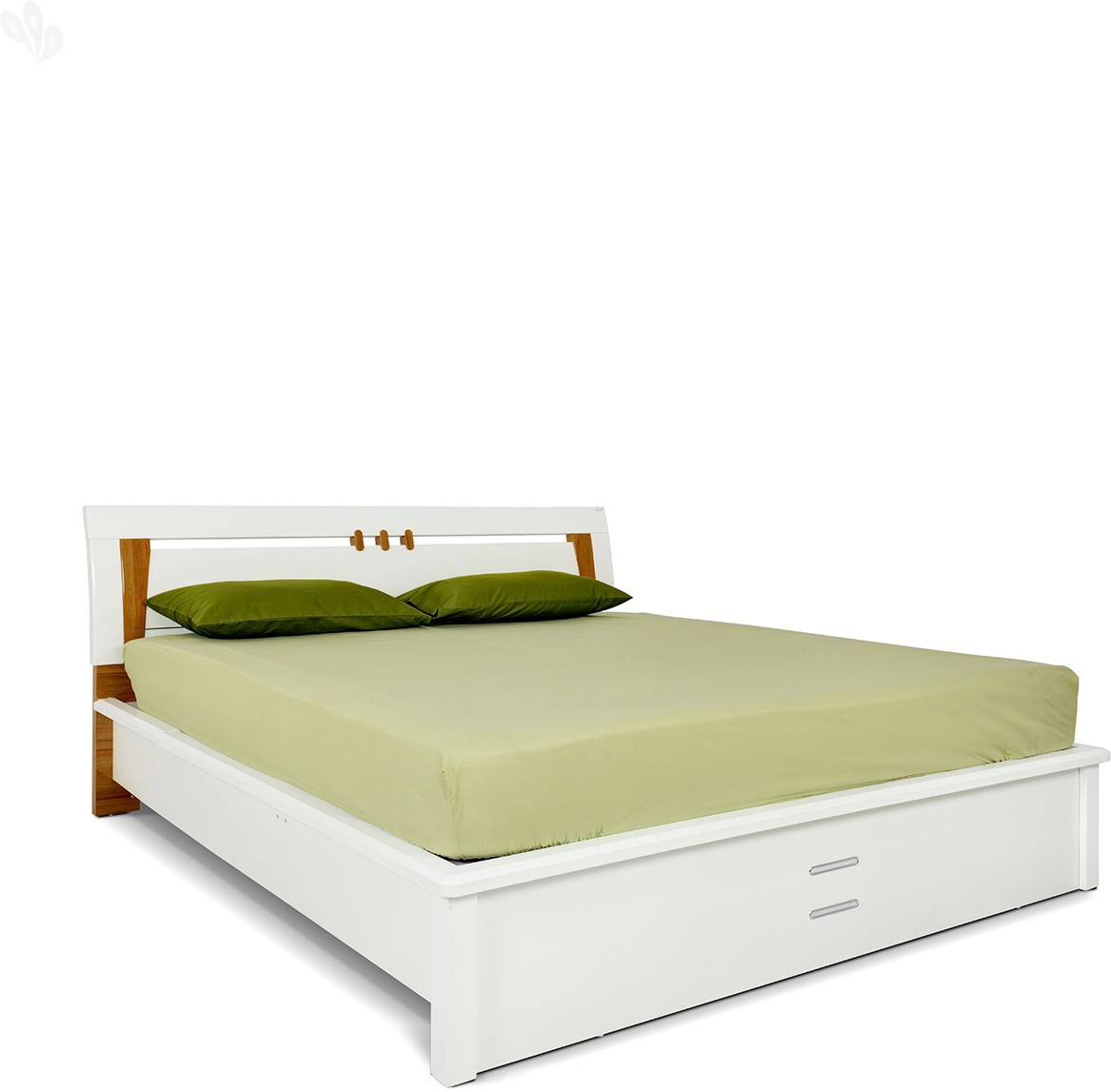 View Royal Oak Olive Engineered Wood King Bed With Storage(Finish Color -  White) Furniture (Royal Oak)