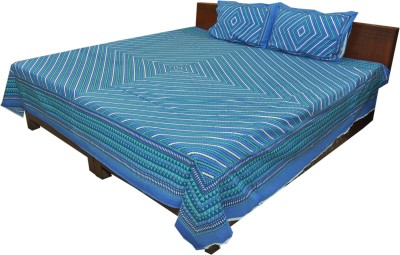 Factorywala Cotton Striped King sized Double Bedsheet