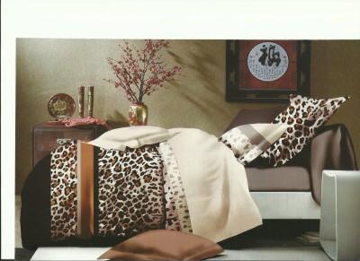 JORDEN Cotton Linen Blend 3D Printed King sized Double Bedsheet