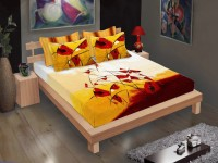 MYCK Cotton Floral King sized Double Bedsheet(Multicolor)