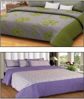 Divine Cotton Floral Double Bedsheet(2 Bedsheet, 4 Pillow Covers, Green, Purple)