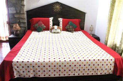 Ever Green Cotton Polka Double Bedsheet