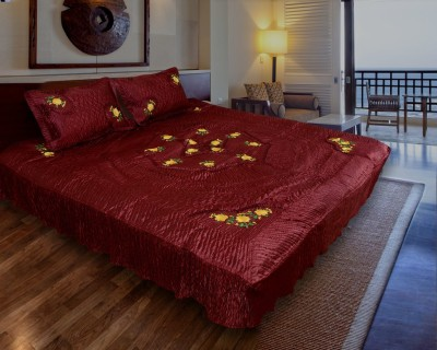 Rangasthali Satin Embroidered Double Bedsheet