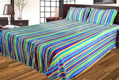 Gopani Dispatchers Polyester Silk Blend Striped Double Bedsheet