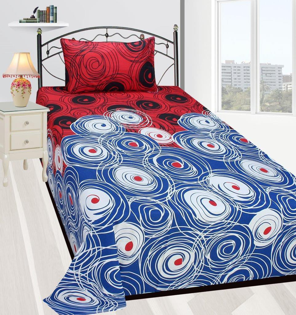 Zain Cotton Printed Single Bedsheet(1 SINGLE BED SHEET, 1 PILLOW COVERS, MULTI COLOUR)
