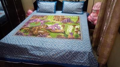 Nshell Cotton Cartoon Double Bedsheet