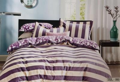 I-Dream Decor Cotton Silk Blend Striped Double Bedsheet