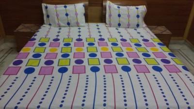 divine creations Cotton Geometric Double Bedsheet