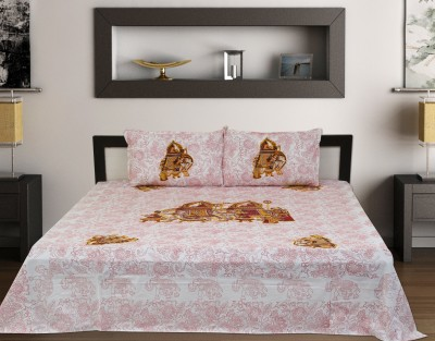 marriage Cotton Embroidered King sized Double Bedsheet