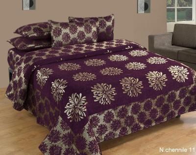 Nine Living Chennile Floral Double Bedsheet