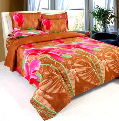 Golden By Fablooms Cotton Floral Double Bedsheet