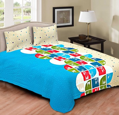 Tripods Fashion Cotton Geometric King sized Double Bedsheet(1 bed sheet, 2 Pillow Covers, sky blue, White)