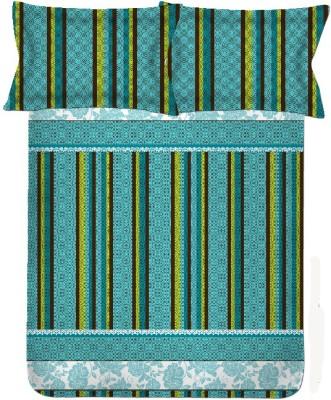 Satcap Cotton Striped Double Bedsheet