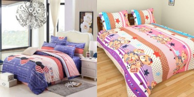 Satviham Cotton Cartoon Double Bedsheet