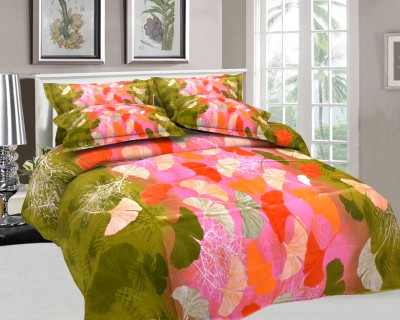 The White Moss Cotton, Satin Floral Double Bedsheet