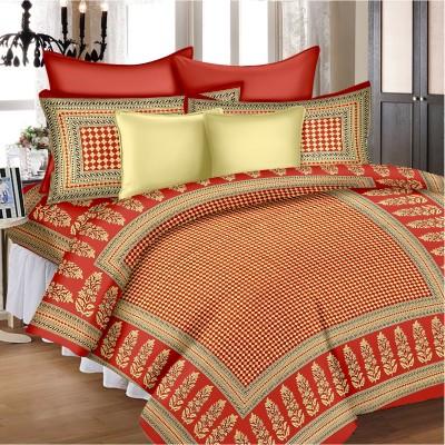 SheetKart Cotton Floral King sized Double Bedsheet