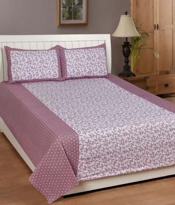Swastik Wine Cotton Double Bedsheet With 2 Pillow Covers Cotton Abstract Double Bedsheet