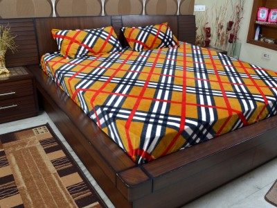 Adinath Polyester Checkered Double Bedsheet