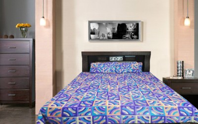 Wow-But-How Cotton Geometric Double Bedsheet