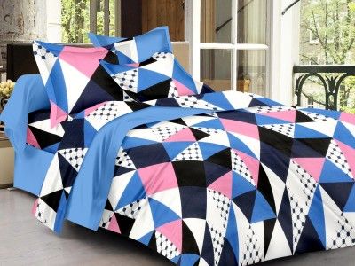 LISSOME Cotton Geometric King sized Double Bedsheet