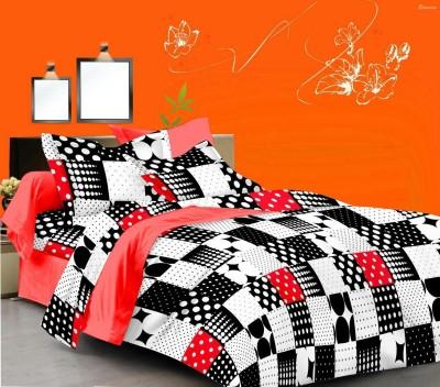 NIVRATI Cotton Abstract Double Bedsheet