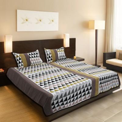 Gunjan Creations Cotton Geometric King sized Double Bedsheet