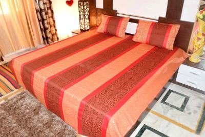 Hashcart Cotton Striped Double Bedsheet