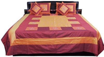 Shilpbazaar Silk Double Bed Cover(Orange, Maroon, 1 Double Bedcover, 2 Cushion Covers, 2 Pillow Covers)
