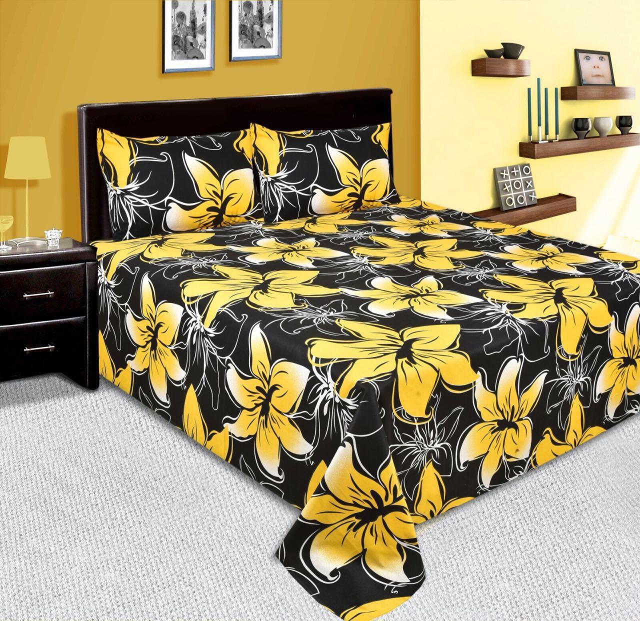 Zain Cotton Floral Queen sized Double Bedsheet(1 QUEEN SIZE BED SHEET, 2 PILLOW COVERS, MULTI COLOUR)