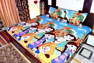 Singhs Villas Decor Polycotton Cartoon Double Bedsheet