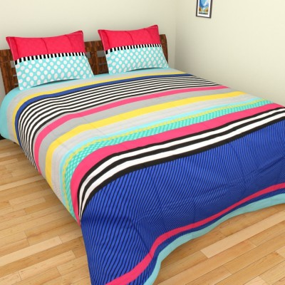 Bichauna by Portico Cotton Linen Blend Polka King sized Double Bedsheet