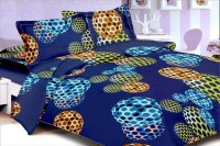Aalidhra Techtex Cotton Polka Double Bedsheet(1 Double Size Bedsheet With 2 Pillow Covers, Blue)