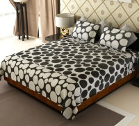 Home Candy Cotton Geometric Double Bedsheet(1 Double Bedsheet, 2 Pillow Covers, White, Black)