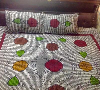 Prakki Cotton Linen Blend Printed Double Bedsheet