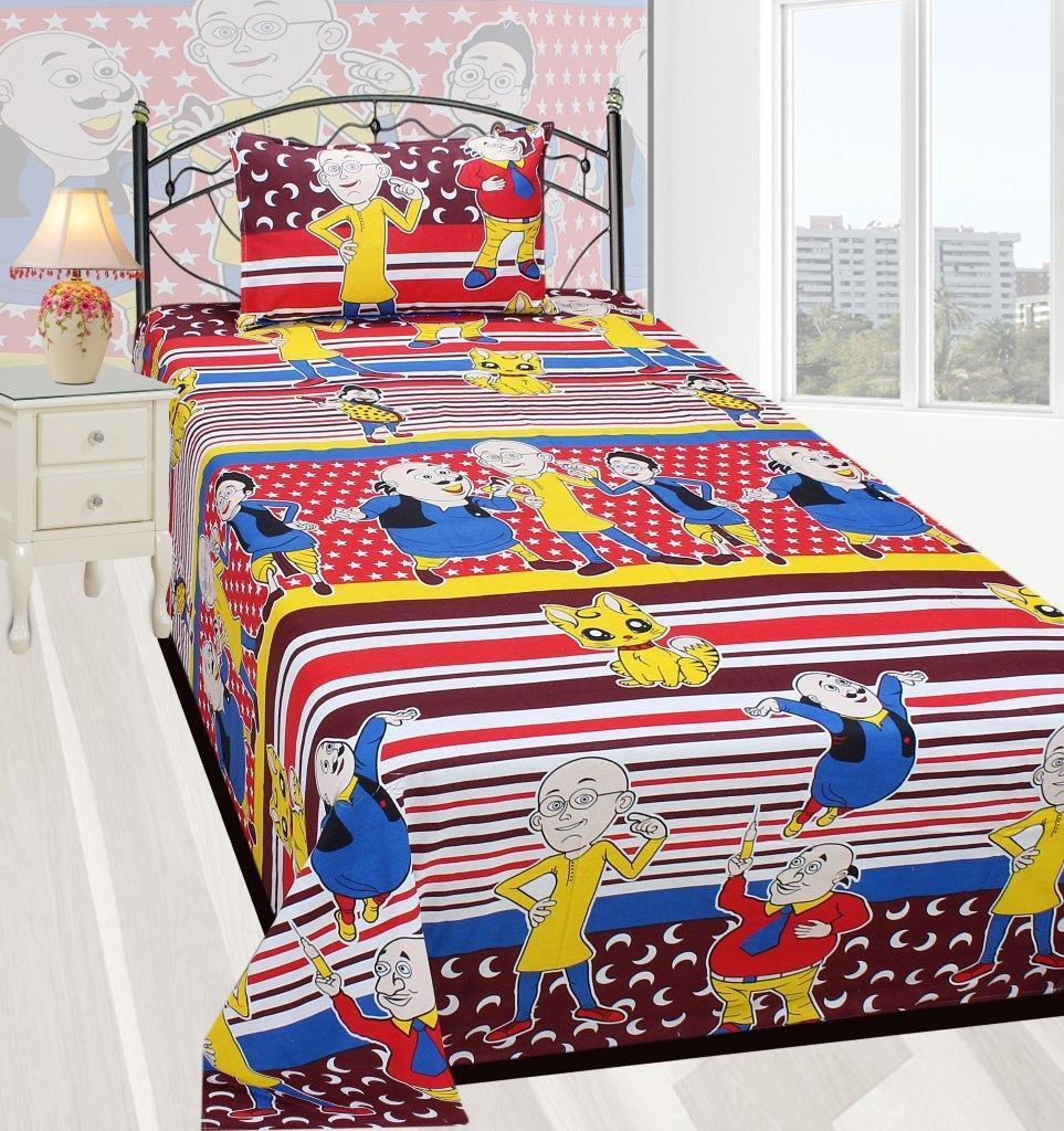 Zain Cotton Cartoon Single Bedsheet(1 SINGLE BED SHEET, 1 PILLOW COVER, MULTICOLOUR)