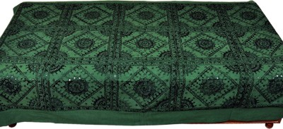Jaipur Raga Cotton Single Bed Cover(Dark Green)