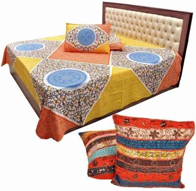 Shilpbazaar Cotton Floral Double Bedsheet