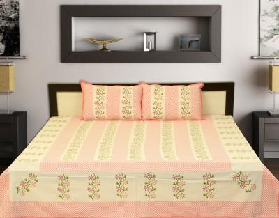 jaipue printex Cotton Text Print King sized Double Bedsheet