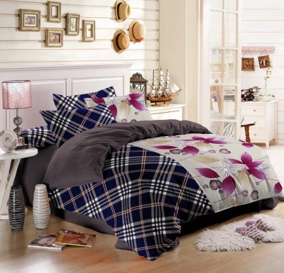 Sassoon Polyester Checkered Double Bedsheet