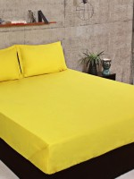 Portico New York Cotton Plain Double Bedsheet(1 Bedsheet, 2 Pillow Cover, Yellow)