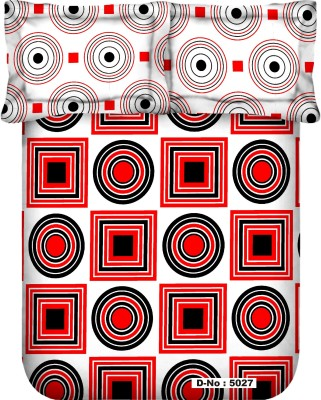 MYCK Cotton, Satin Geometric Double Bedsheet