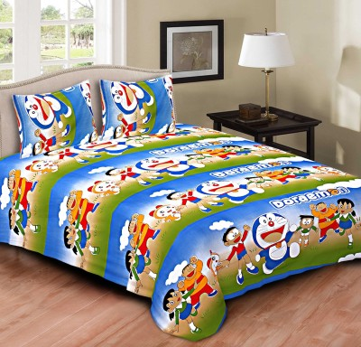 Tripods Fashion Cotton Silk Blend Printed Double Bedsheet