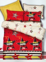 Tima Polyester Abstract Double Bedsheet(1 Bed Sheet, 2 Pillow Covers, Red)