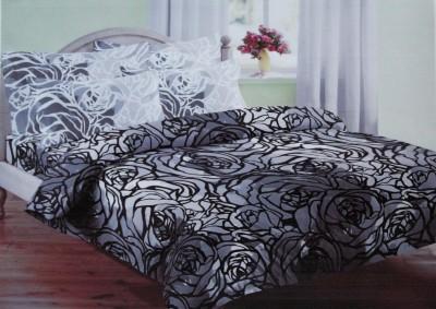 Encore Lifestyle Cotton Floral Double Bedsheet(1 Bedsheet, 2 Pillow Covers, Grey)