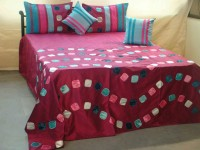 Diti Impex Velvet, Silk Floral Double Bedsheet(1 bedsheet, 2 Pillow Covers, 2 Cushions Cover, Multi16)